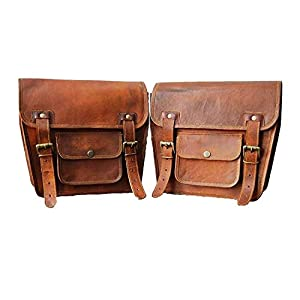LBH Bolso de piel para sillín de motocicleta, color marrón (2 bolsas)