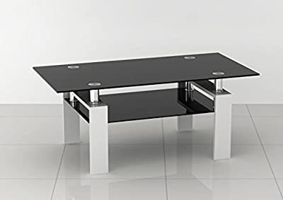 Rectangular Black Glass Coffee Table with White Legs - low-cost UK light store.