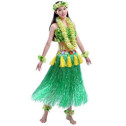 aii Tropical Hula Grass Dance Rock BH Girlande, Kopfring, Armband, Fußring Set ()