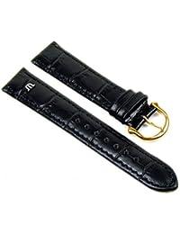 Maurice Lacroix Ersatzband Uhrenarmband Kalbsleder Band Kroko-Optik schwarz 20896G, Stegbreite:13mm
