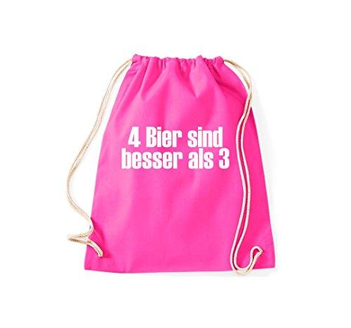 Turnbeutel 4 Bier sind besser als 3 Gymsack Kultsack Pink