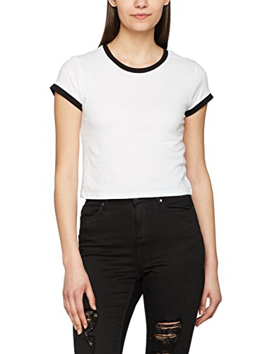 Urban Classics TB1502 Damen T-Shirt Ladies Cropped Ringer Tee Mehrfarbig (Wht/Blk 224), X-Small (Ringer Tee Damen)