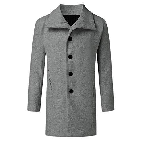 Aoogo Herren Mantel Wintermantel Trenchcoat Jacke Übergangsjacke Coat Winter Herbst Lang Warm Stehkragen Reverskragen Elegant Klassischer Outdoor Jacken