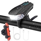 Charlemain Luci per Bicicletta, Luci Bicicletta LED Ricaricabili USB con, Luci per Bicicletta Intelligente 5 modalità LED per Bici Strada e Montagna- Sicurezza per Notte