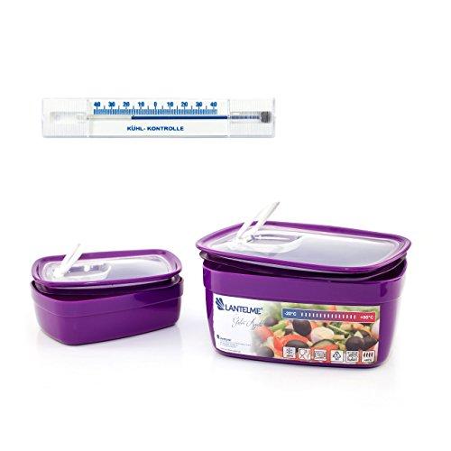 Lantelme 6438 Küchenhelferset mit Mikrowellenschüssel und KühlschrankThermometer - Schüsselset Kunststoff Farbe lila und Analogthermometer waagrecht