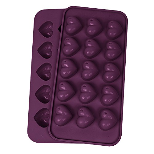 Webake 2 Stück x 15er Form Silikon Pralinenformen Schokoladenformen Eiswürfelformen Gummibärchen mit Herzen