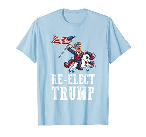 Re-Elect Trump amerikanische Flagge Sonnenbrille Einhorn T-Shirt