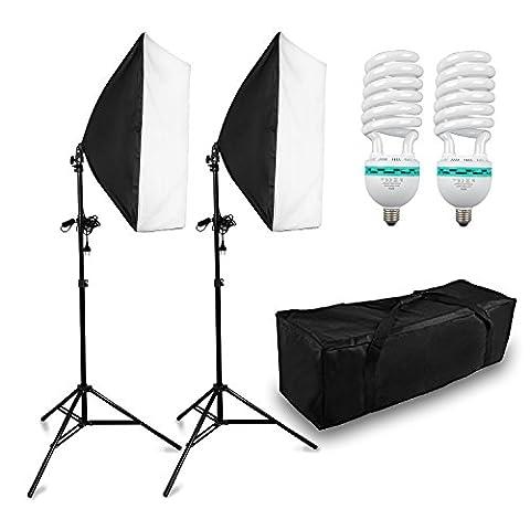 BPS 1250W 5500K Softbox kit d'éclairage continu pour studio photo, Boîte à lumière 50x70cm monture universelle, Ampoule photogrqphique 625w lumens>=65ml/W avec sac de transport