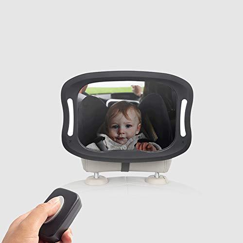 Led specchietto retrovisore bambini baby bambino vista posteriore specchio regolabile a 360° sicuro e antiurto specchio per auto sedile posteriore con led luce