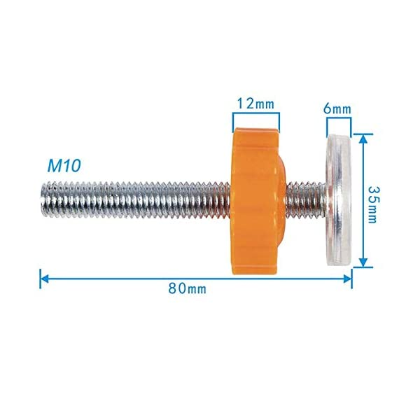 ZUZER 8pcs Pressure Baby Gates Threaded Spindle Rods M10 Walk Thru Gates Accessory Screw Bolts Safety Gate Screws for Baby and Pet Safety Gates Zuzer [High Quality] Our threaded spindle rods with steel core screw and ABS plastic, durable and reusable.Solid material that won't crack with pressure, help to make the banister gate fit snug and sturdy, so as to ensure safety of the kids or pets. [Safety and Stability] This pressure screw makes your baby door more stable and will not malfunction. A good way to protect walls or stair rails, the rubber ends protect your stairs from scratches. Can be used as an alternate wall handle for our door. (Do not use it at the top of the stairs.) [Easy to Install] It can be installed without tools. It does not damage the wall, it can be assembled quickly and easily by simply rotating the nut and creating a force that acts directly on the wall. 2