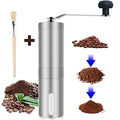 Coffee Grinder, Smaier Manual Coffee Mill, Mini Portable Home Kitchen Travel Hand Stainless Steel Coffee Bean Grinder with Adjustable Ceramic Core from Smaier