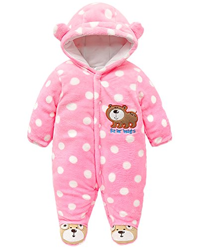 Minetom Baby Rompers Winter Infant Rompers Toddler Clothing Bodysuit Soft Warm Thick Clothes Eisbär Rosa 59cm