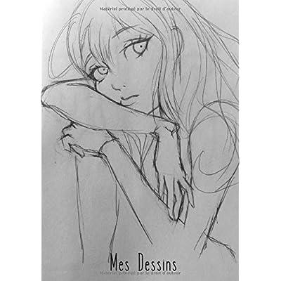 Mes Dessins: A4 - 100 pages de papier vierge - Journal d'artiste / Journal créatif / Bloc à dessin / Bloc-notes / Belle fille - Manga / Anime