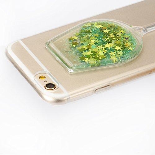 """iPhone 6sPlus Handyhülle, iPhone 6Plus Liquid TPU Case, CLTPY Kreativ 3D Fließen Flüssig Bling Schwimmend Treibsand Herz, Glanz Shiny Kristallklar Schale Etui für 5.5"""" Apple iPhone 6Plus/6sPlus (Nicht Grüner Stern"""