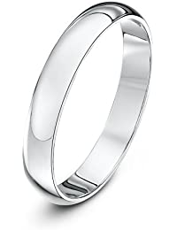 Theia Unisex Super Heavy D Shape Polished Platinum Wedding Ring