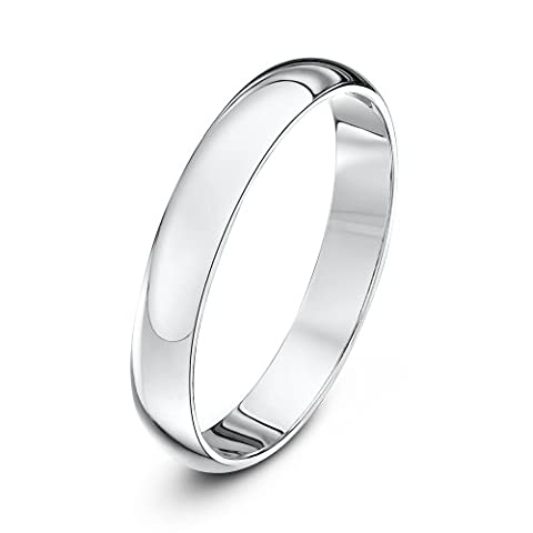 Wedding Ring, 9 Carat White Gold Heavy D Shape, 3mm Band Width - size