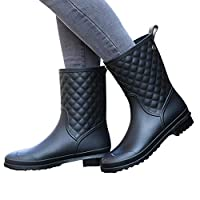 UniEco Waterproof Slip-on Women Rain Boots Easy On&Off Half-Height Wellies for Women