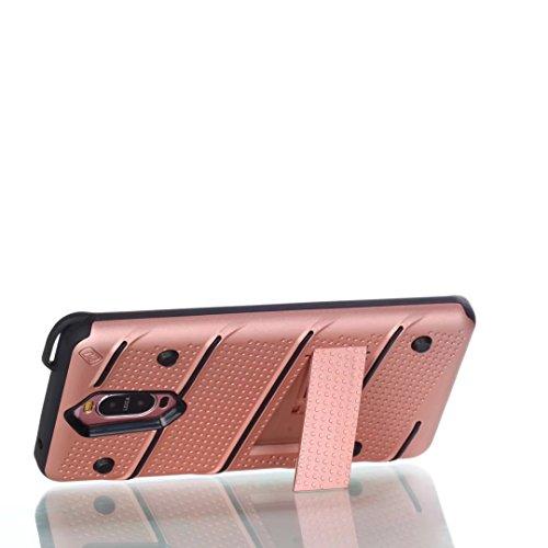 EKINHUI Case Cover Dual Layer Hybrid Armor Schutzhülle Shockproof Stoßfänger mit Kickstand für Huawei Mate 9 Pro ( Color : Red ) Rosegold