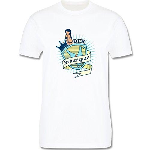 JGA Junggesellenabschied - Bräutigam Schild - Herren Premium T-Shirt Weiß