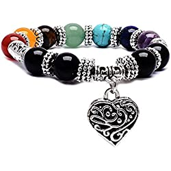 Young & Forever D'vine 7 Chakra Gemstone Reiki Yoga Heart charm (10mm) Beads Bracelet for Women B586