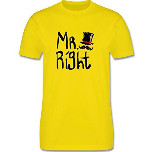 Hochzeit - Mr. Right Pinsel - Herren Premium T-Shirt Lemon Gelb