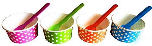 Rainbow Papier Polka Dot Eis Creme Tassen 6oz (Anzahl 40) & Passende Löffel Kunststoff (Anzahl 40) Set (von brightandbold)
