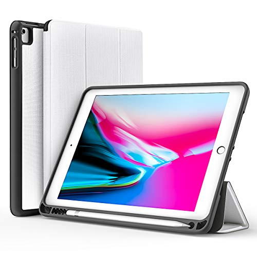 DIVI Hülle für Apple iPad 2018/2017 Hülle 9.7 Zoll, Ultra Dünn Superleicht Schutzhülle Abdeckung Cover Case mit Ständer Funktionund Auto Schlaf/Wach für Apple iPad 9,7'' (Weiß)–MEHRWEG