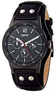 Esprit Herren-Armbanduhr XL Rugged Night Analog Quarz Leder ES000AV1006