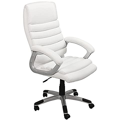 eMarkooz(TM) Manager Chair Executive Chair office Chair Boss Chair Swivel Leather Computer Desk Chair (White Extra Padding) by eMarkooz