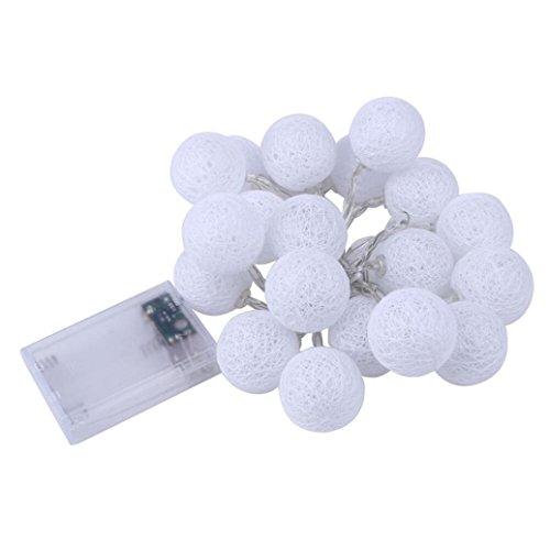 Bovake 2.3m 20led Boule de coton Guirlande lumineuse fête de mariage Décorations de Noël lumières