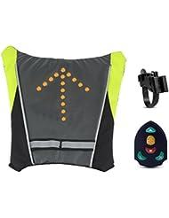 Amorus® Sac à dos de vélo étanche lampe témoin sécurité LED clignotant télécommande sans fil