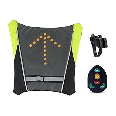 Amorus® Bicycle Waterproof Backpack with Pilot Lamp Security LED Turn Signal Wireless Remote Control (Grey)