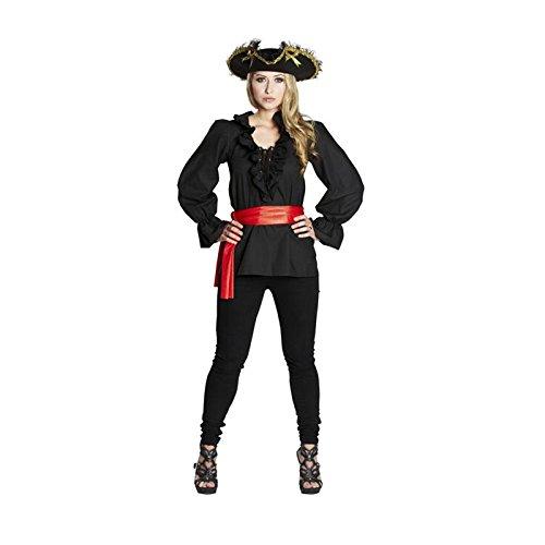 NEU Damen-Bluse Piratin mit Rüschen schwarz Gr. 46