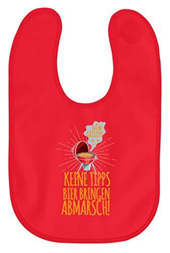 Schuhboutique Doris Finke UG (haftungsbeschränkt) Bin am Grillen - Keine Tipps, Bier Bring - Baby Lätzchen -OneSize-Kaiserliches Rot - Bier Bin