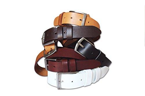 Cintura unisex in cuoio, modello classico, groppone di vitello resistente e durevole. Bianco