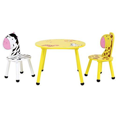 Bentley Kids - Kinder Sitzgruppe - Tisch & 2 Stühle - Safari-Design - Holz - Für Kinderzimmer - Safari Kids Tisch