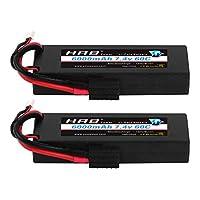 HRB 2PCS 2S 7.4V 6000MAH 60C Hard Case RC Lipo Battery with Traxxas Plug for RC Car Monster Truck Traxxas Slash