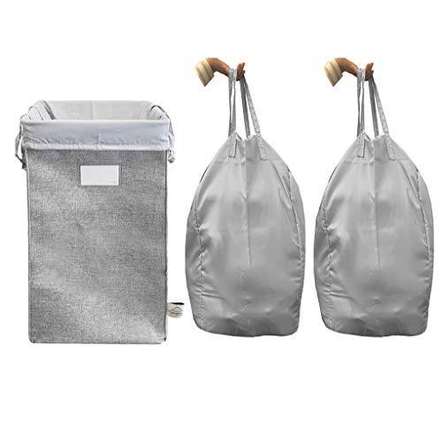 Zusammenklappbar Bettwäsche Lagerung (MCleanPin wäschekorb zusammenklappbare mit 2 abnehmbarer wäschebeuteln & sorting card, schmutzige kleidung hamper grau)