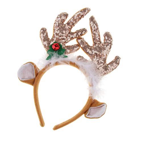 (Baoblaze Rentiergeweih Haarreif Stirnband Haarband Kopfschmuck Kostüm zubehör mit Pailletten Deko - Kaffee-Ren-Geweih mit den Ohren)