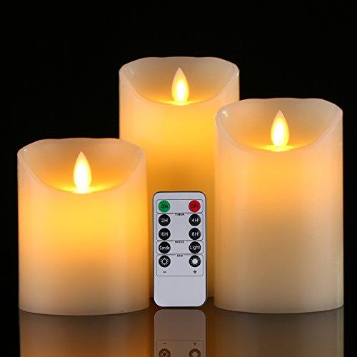 LED Kerzen von Da by, Flammenlose Kerze 300 Stunden Batterie Dekorative Kerzen Set 3 (10cm, 12.8cm, 15.2cm). Die echt blinkende LED-Flamme ist aus elfenbeinfarbenem Echtwachs gefertigt. 10-Tasten-Fern