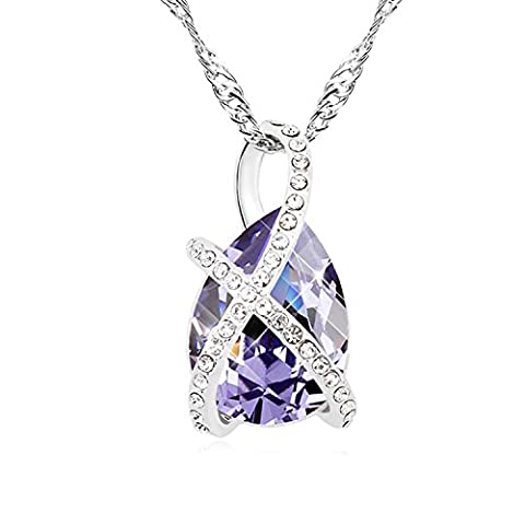 FANSING Jewellery Austrian Crystal 2.6cm*1.4cm Pendant Necklaces for Women Purple 40+5cm/16+2