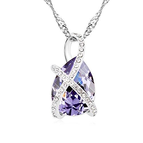 FANSING Joyería Regalo Original Austriaco Cristal Collares Pendientes Para Mujerses Púrpura