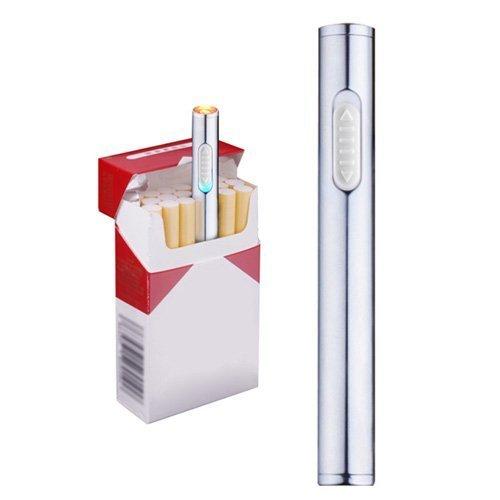 Mini accendino USB, ricaricabile, antivento, accendino elettronico al plasma senza fiamma, portatile, argento