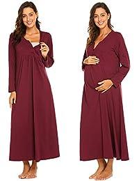 Damen Stillnachthemd Bodenlang Geburtshemd Umstandskleid Nachtwäsche Nachtkleid mit V-Ausschnitt, Knopfleiste aus Baumwolle für Sommer Herbst Geburt Krankenhaus