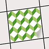 creatisto Fliesenspiegel Dekorationssticker | Fliesen-Sticker Aufkleber Folie selbstklebend Bad renovieren Küche Bad Ideen | 15x15 cm Muster Ornament 3D Cubes - Grün - 1 Stück
