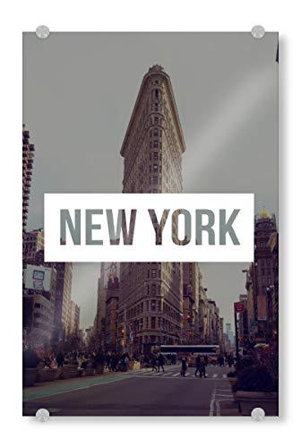 artboxONE Acrylglasbild 18x13 cm Städte/New York Flatiron Bild hinter Acrylglas - Bild Asphalt NYC New York