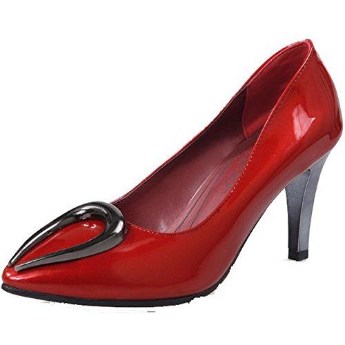 VogueZone009 Damen Ziehen Auf Pu Leder Spitz Zehe Hoher Absatz Eingelegt Pumps Schuhe Rot