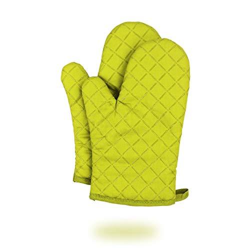 Dualeco hitzebeständig Silikon Ofen Rutschfest Baumwolle Gesteppt Küche Handschuhe, Handschuhe für Kochen, Grillen, Backen, Grill Topflappen 1Paar, grün, One Size