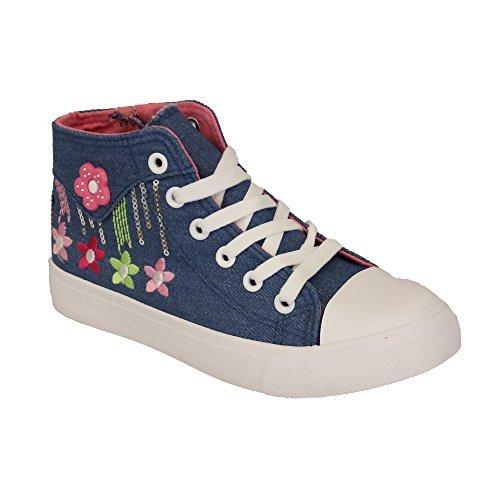 Sneakers Meninas Crianças Florais Crianças Padrão Kelsi Até As Rendas Bombas Planas Zipper Azuis Sapatos - Kyd06