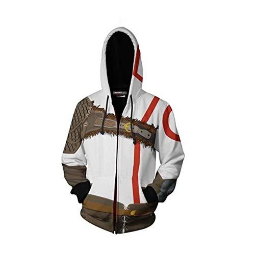 God of War Warrior Kratos Erwachsene Zip Up Hoodie Männer Rollenspiel Sweatshirt Casual Sport Mantel Jacke Halloween/Weihnachten (Kratos Kostüm Kinder)